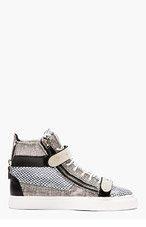 GIUSEPPE ZANOTTI Black and white patent leather mesh-print high-tops for men