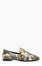 GIUSEPPE ZANOTTI Beige & green distressed leather CAMO LOAFERS for men
