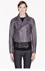 DIESEL BLACK GOLD SSENSE EXCLUSIVE Grey Leather Lifire Biker Jacket for men