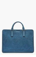 ALEXANDER MCQUEEN Blue suede & leather HEROIC BRIEFCASE for men
