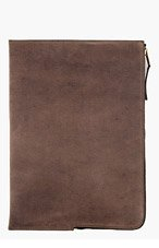 RICK OWENS Brown leather DOCUMENT case for men