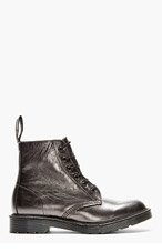 DR. MARTENS Pewter grey leather PIETRO 6-EYE BOOTS for men