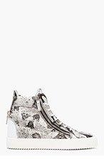 GIUSEPPE ZANOTTI White & black PYTHON HIgh TOP sneakers for men