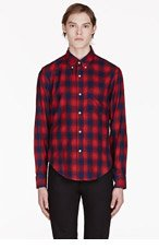 BAND OF OUTSIDERS Red & Navy Plaid Shirt for men