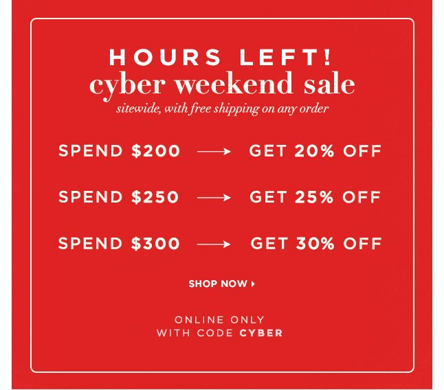 ONLY HOURS LEFT! Save Up To 30% Off Sitewide & Receive Free Shipping For Cyber Monday