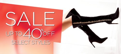 SALE UP TO 40% OFF SELECT STYLES