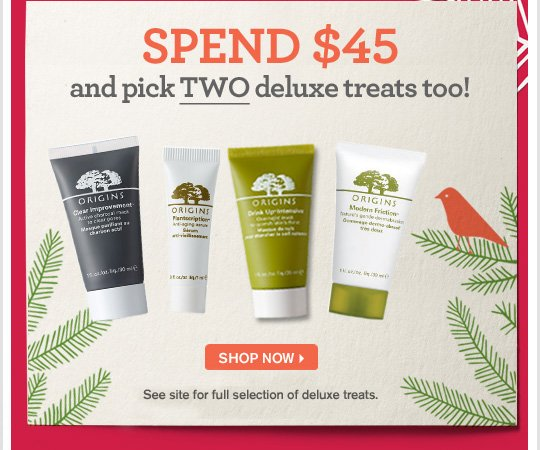 SPEND 45 dollars and pick a deluxe treat too DO NOT MISS TODAYs FEATURED TREAT 6 week supply of Drink Up Intensive overnight mask SHOP NOW Todas featured treat is available at checkout in limited supply See site for full selection