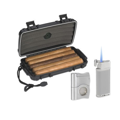 Lotus Travel Gift Set // Humidor, Lighter & Cigar Cutter