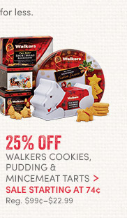 Walkers Cookies, Pudding & Mincemeat Tarts - 25% off