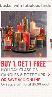 Holiday Classics Candles & Potpourri - Buy 1, Get 1 Free