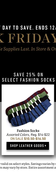 Black Friday Sale: Save 25% on Select Fashion Socks. Shop Now >