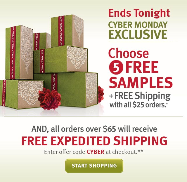 ends tonight. cyber monday exclusive. choose 5 free samples. plus receive a surprise gift when you spend $50. and all orders over $65 will receive free expedited shipping. start shopping.