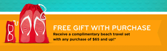 FREE GIFT WITH PURCHASE - Receive a complimentary beach travel set with any purchase of $65 and up!(