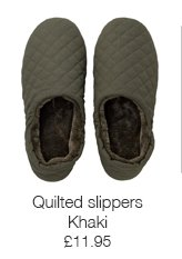 Khaki quilted slippers