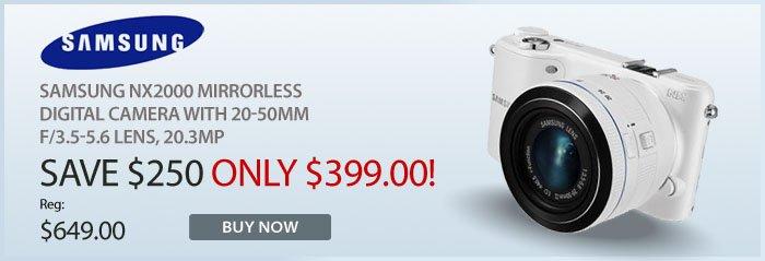 Adorama - Samsung NX2000 Mirrorless Digital Camera with 20-50mm f/3.5-5.6 Lens