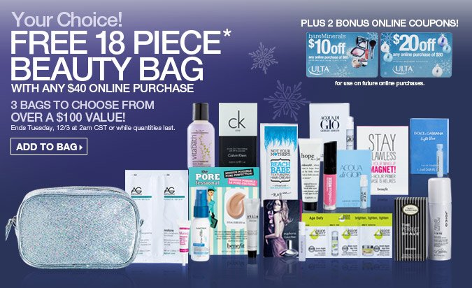 Free 18 piece Beauty Bag with any $40 online purchase. Three bags to choose from.