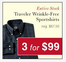 Traveler Wrinkle-Free Sportshirts - 3 for $99 USD