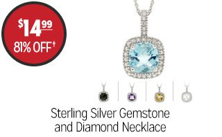 Sterling Silver Gemtsone and Diamond Necklace - $14.99 - 81% off‡