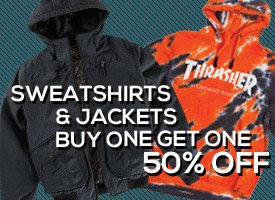 All Sweatshirts and Jackets: Buy One Get One 50% Off!