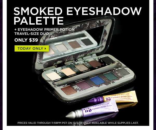Smoked Eyeshadow Palette + Eyeshadow Primer Potion travel-size duo, only $39. Today only >
