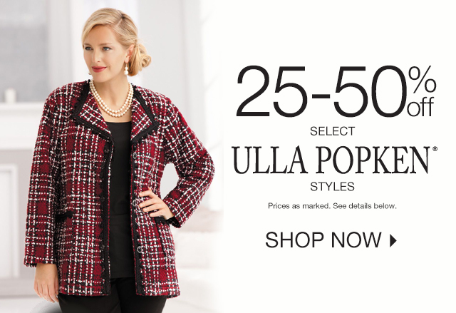 Shop 25-50% off select Ulla Popken Styles