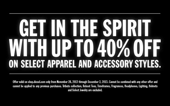 GET IN THE SPIRIT WITH UP TO 40% OFF ON SELECT APPAREL AND ACCESSORY STYLES.