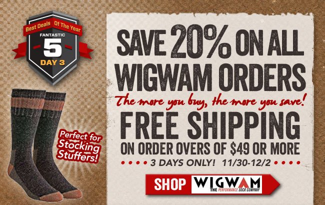 20% OFF All Wigwam Socks + FREE Shipping!