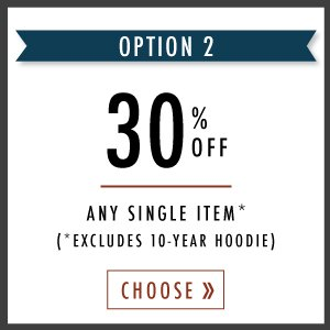 30% OFF any single item.