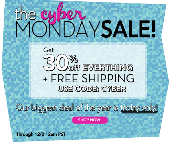 Today only, get 30% off everything + FREE SHIPPING!