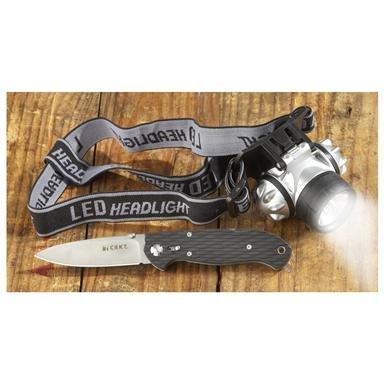CRKT® Ron Lake 111 Zytel Folding Knife and LED Headlamp Combo