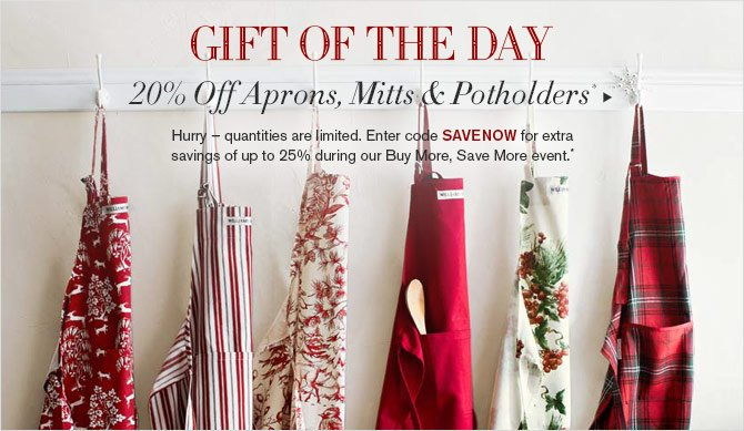 GIFT OF THE DAY - 20% Off Aprons, Mitts & Potholders* - Hurry – quantities are limited. Enter code SAVENOW for extra savings of up to 25% during our Buy More, Save More event.*