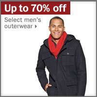 Up to 70% off men's outerwear.