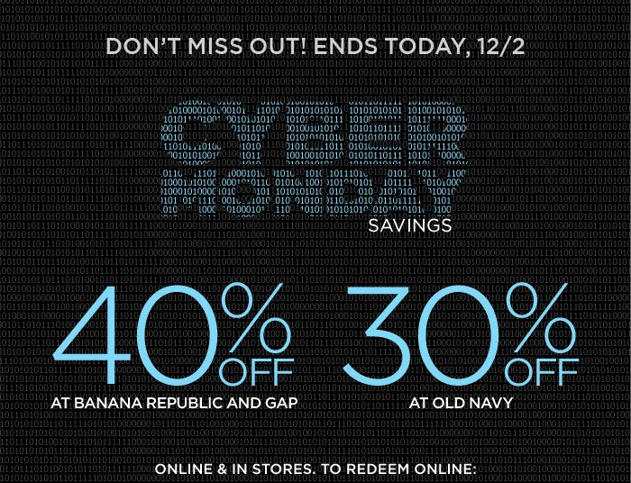 DON'T MISS OUT! ENDS TODAY, 12/2 | CYBER MONDAY SAVINGS