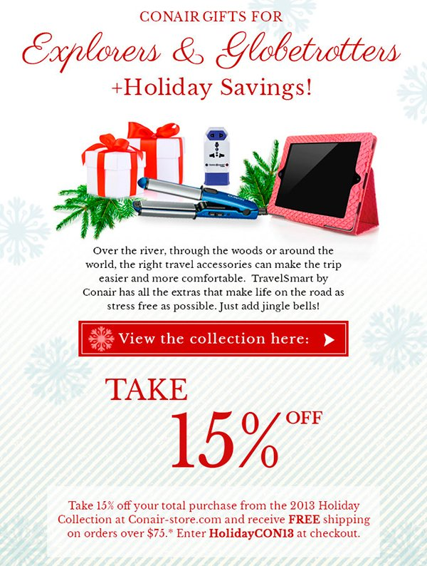 Conair gifts for explorers and globetrotters + Holiday Savings!