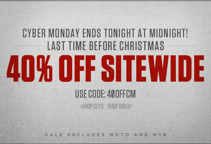Cyber Monday Ends Tonight at Midnight - 40% Off The Entire Site