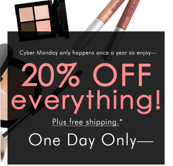 Cyber Monday: 20% off site-wide plus free shipping with code ONEDAY