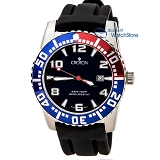 Croton CA301048BSBL Men's Blue Dial Quartz Rubber Strap Watch