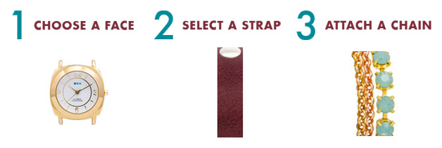1 - Choose a Face. 2 - Select a Strap. 3 - Attach a Chain