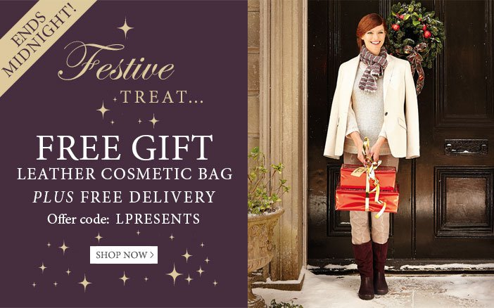 Festive Treat - Free leather cosmetic bag plus free delivery - use offer code LPRESENTS