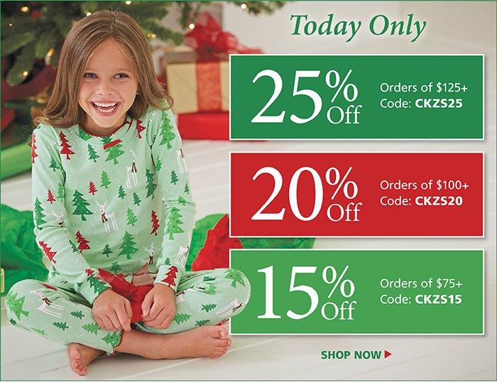 25% off orders of $125+. 20% off orders of $100+. 15% off orders of $75+.