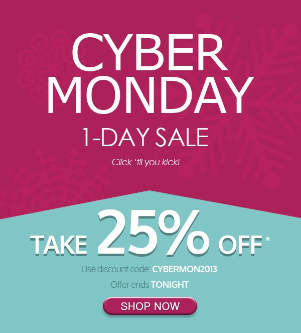 Cyber Monday 1-Day Sale - Take 25% Off Site-Wide - Today Only!