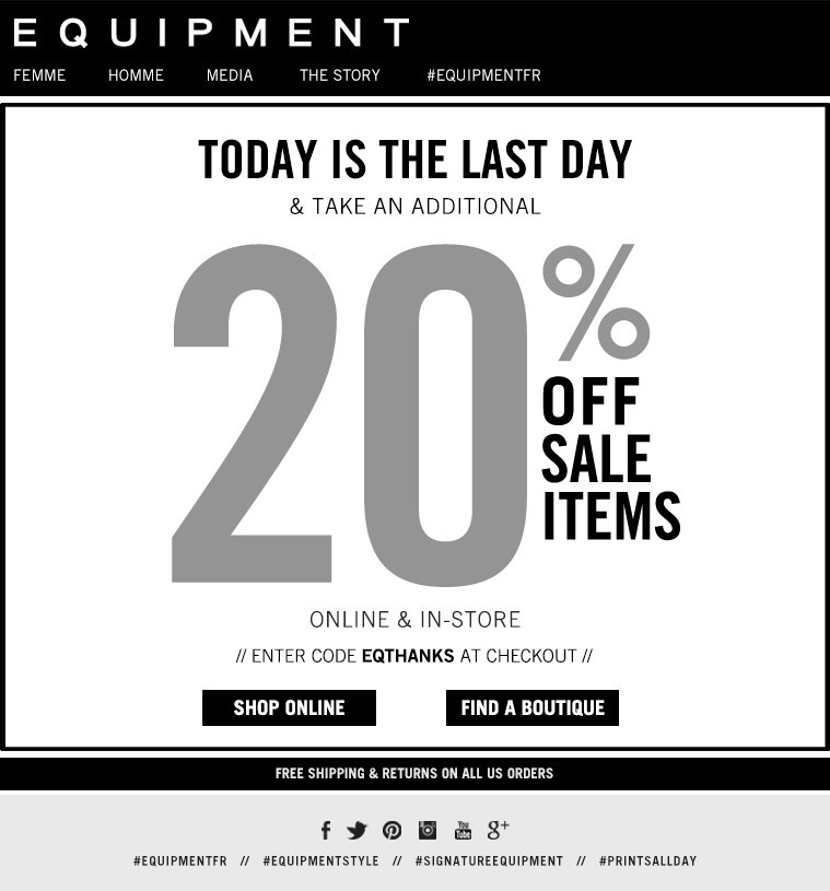 TODAY IS THE LAST DAY TAKE AN ADDITIONAL 20% OFF SALE ITEMS ONLINE & IN-STORE