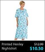Printed Henley Nightshirt