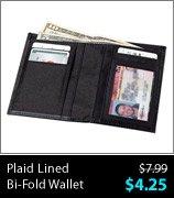 Plaid Lined Bi-Fold Wallet
