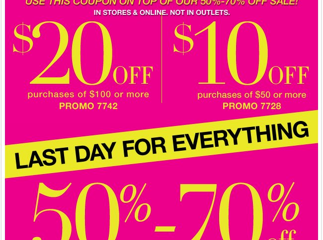 $20 Off $100 & $10 Off $50 Ends Today!