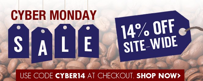Today only - 14% off everything site wide - shop now