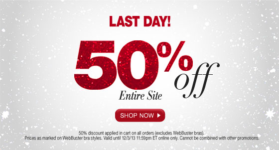 Last Day Cyber Monday Spectacular: 50% Off Entire Site