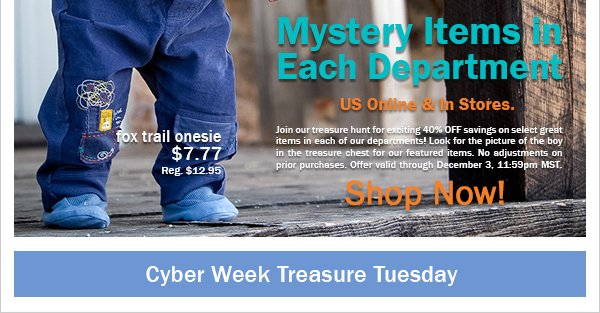 40%  Off Selected New Holiday Styles! Cyber Week Treasure Tuesday Online & In Stores +  Free Shipping on $100 or More