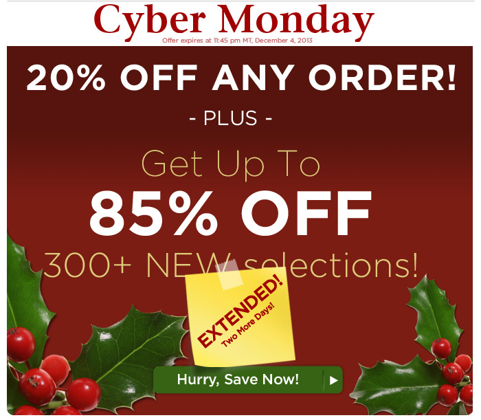 Cyber Monday Savings EXTENDED 2 More Days!