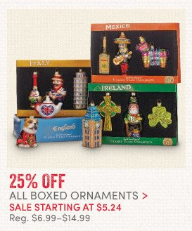 25% off All Boxed Ornaments